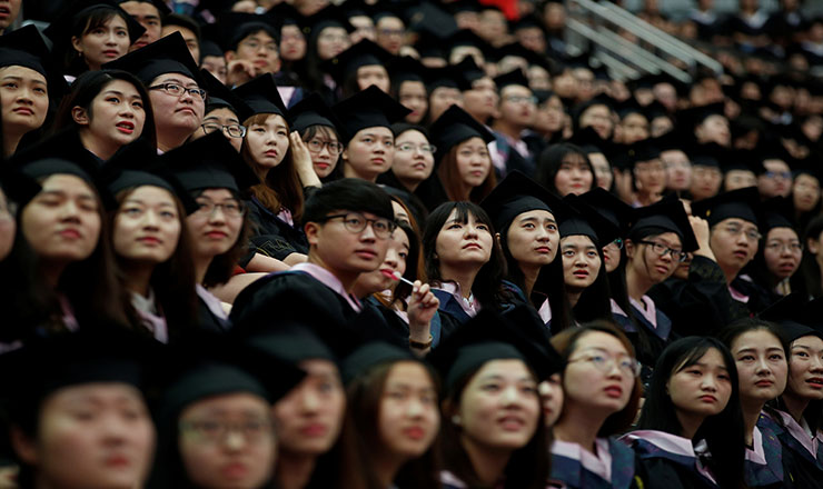Education in China lead image: a group of chinese students during a graduation ceremony