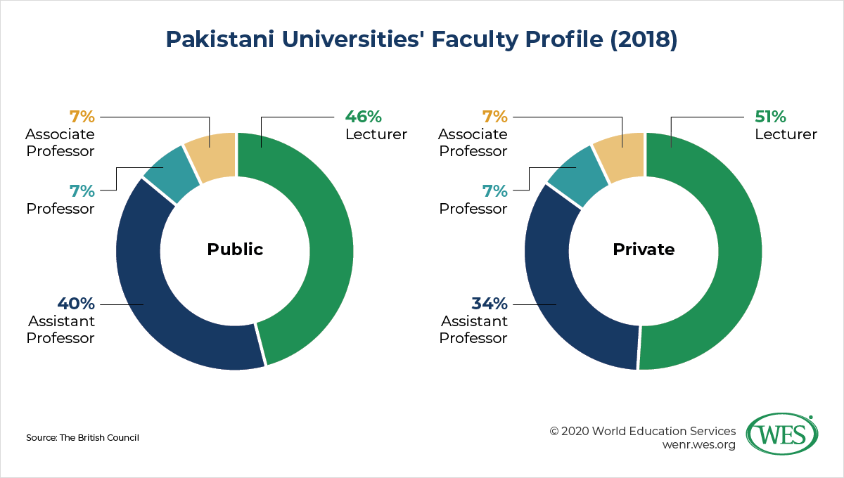 Education in Pakistan image 5: pie chart showing Pakistani universities' faculty profile